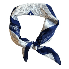 Square Scarf- Navy Paisley - Redemption Market
