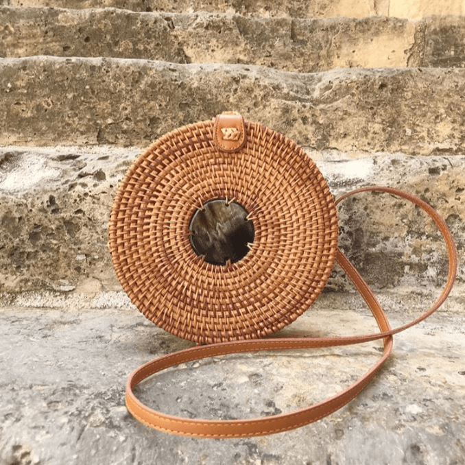 Circle Buffalo Horn Woven Rattan Bag