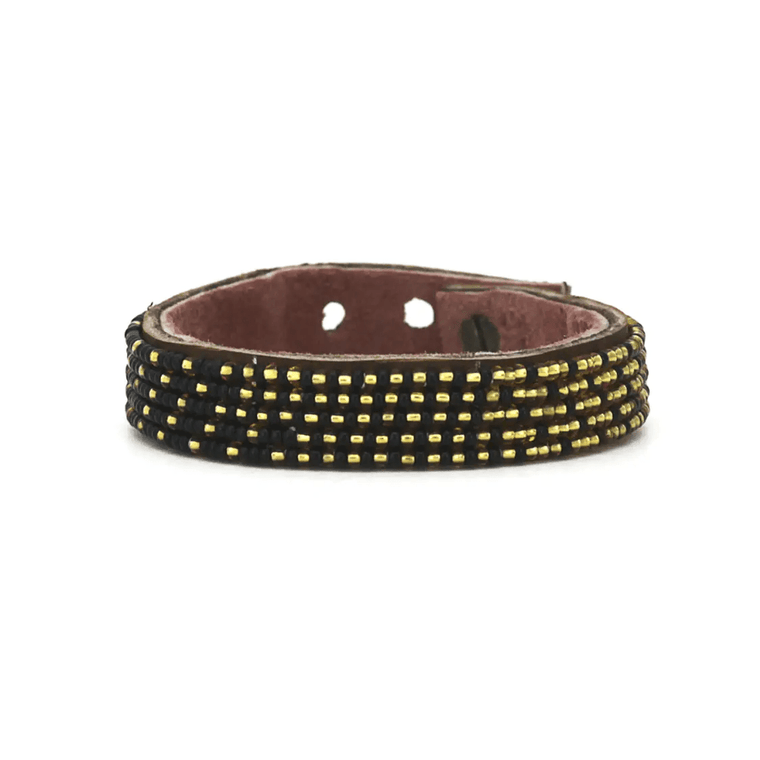Gold + Black Beaded Leather Cuffs