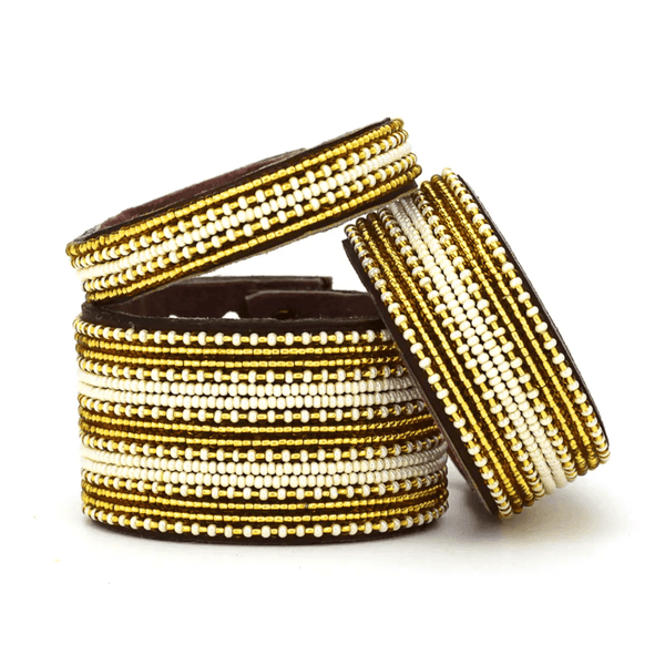 Gold + Pearl Beaded Leather Cuff