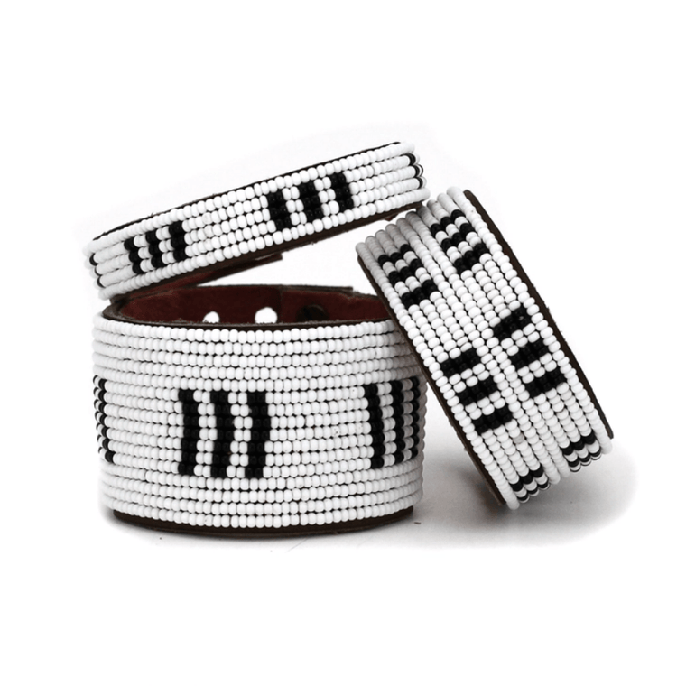 Black + White Bars Beaded Leather Cuffs