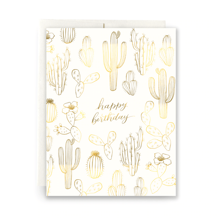 Gilded Cactus Birthday Card