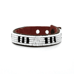 Black + White Bars Beaded Leather Cuffs- NEW!