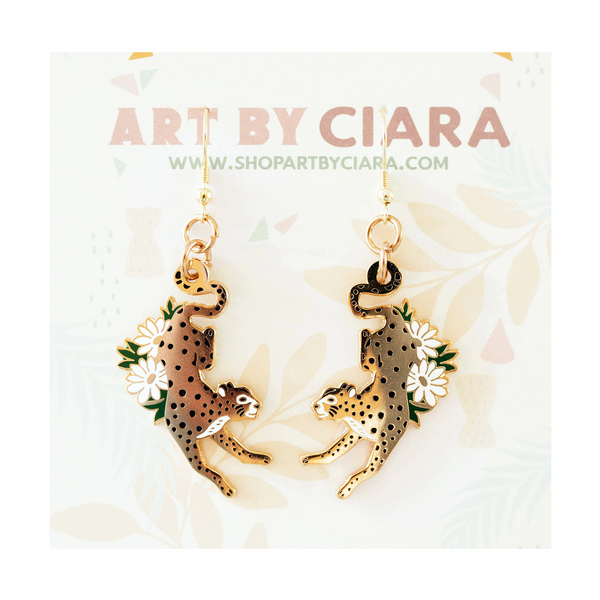 Cheetah Enamel Earrings