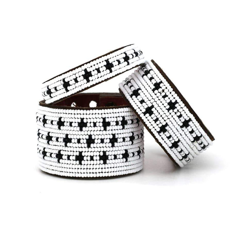 Black + White Stars Beaded Leather Cuffs