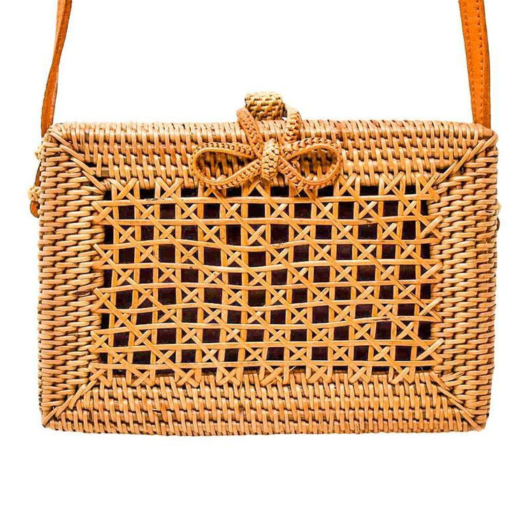 Evie Handwoven Rattan Bag