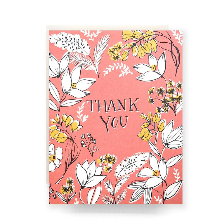 Thank You Card- Floral Toile