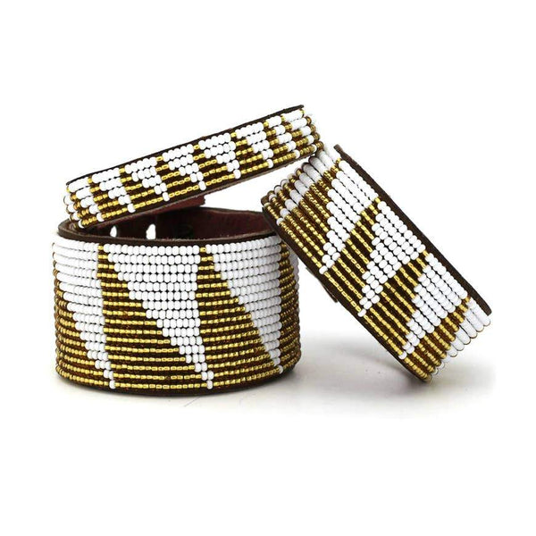 Triangle Beaded Leather Cuff- Gold - Redemption Market