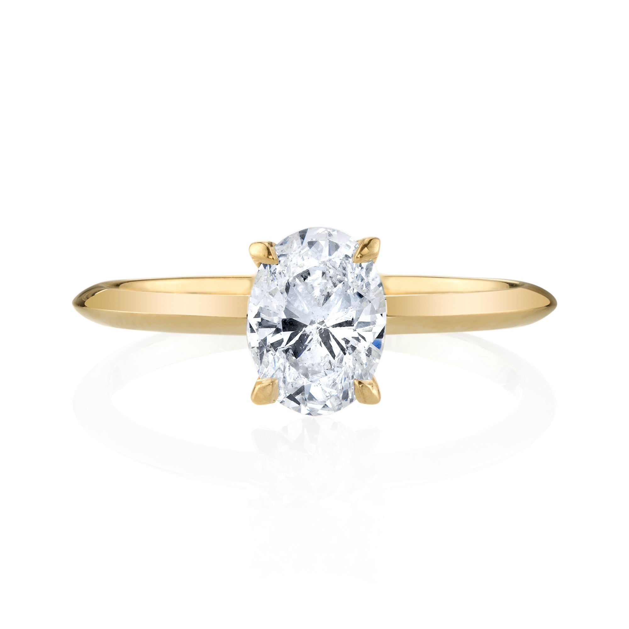 Custom 1 Carat White Diamond Oval Solitaire Ring