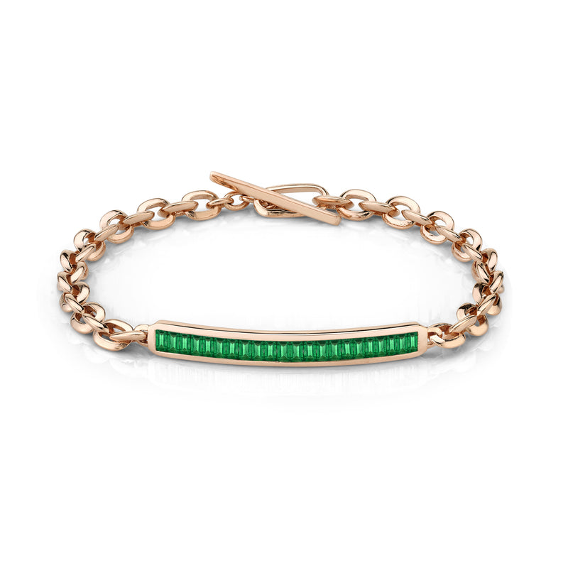 Petite ID Bracelet with Baguette Emeralds