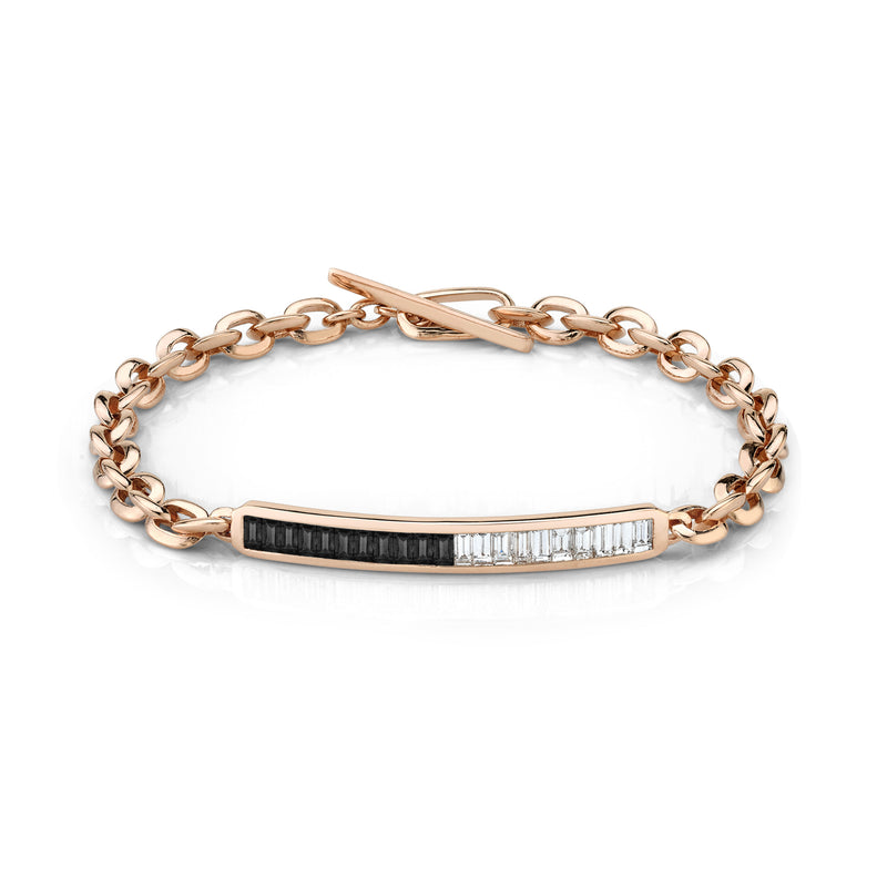 Petite Othello ID Bracelet with Baguette Diamonds