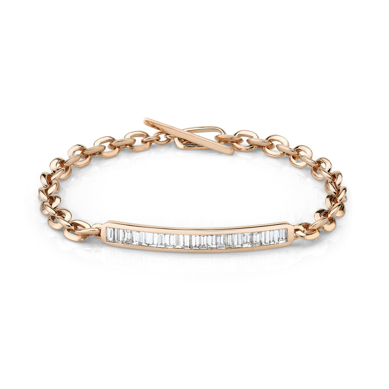 Petite ID Bracelet with Baguette Diamonds