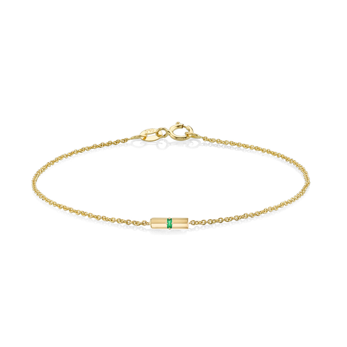 Knife Edge Emerald Baguette Bar Bracelet