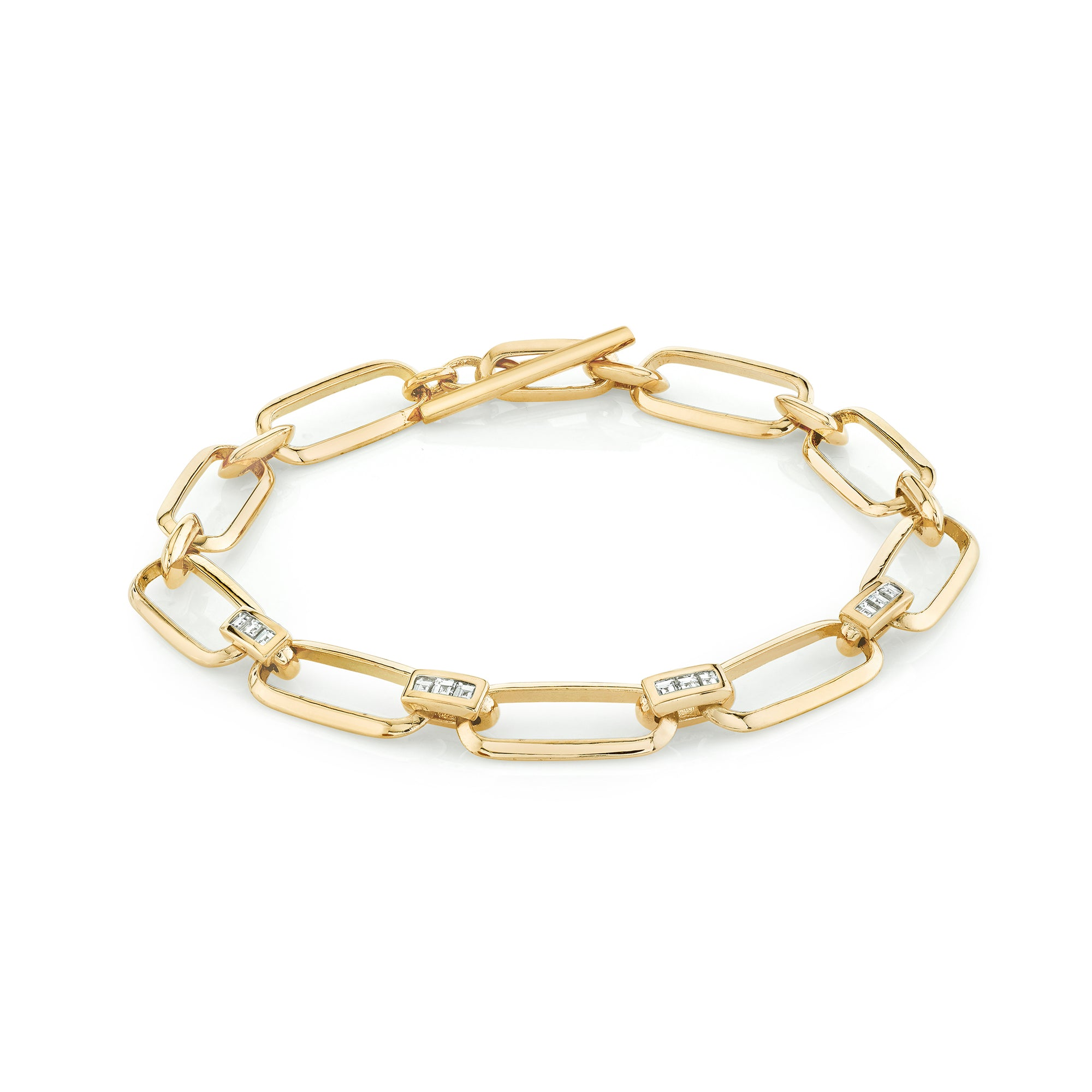 Knife Edge Flat Link Bracelet With Carre Bridges