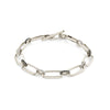 Knife Edge Flat Link Alternating Diamond Bridge Bracelet