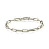 Knife Edge Oval Link Chain Bracelet with One-Sided Diamond Toggle