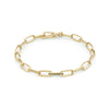 Knife Edge Oval Link Chain Bracelet with Single Pave Link