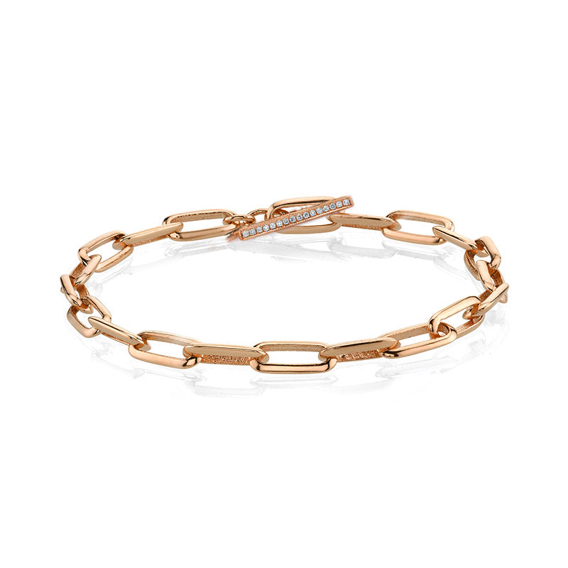 Knife Edge Oval Link Chain Bracelet with Diamond Toggle