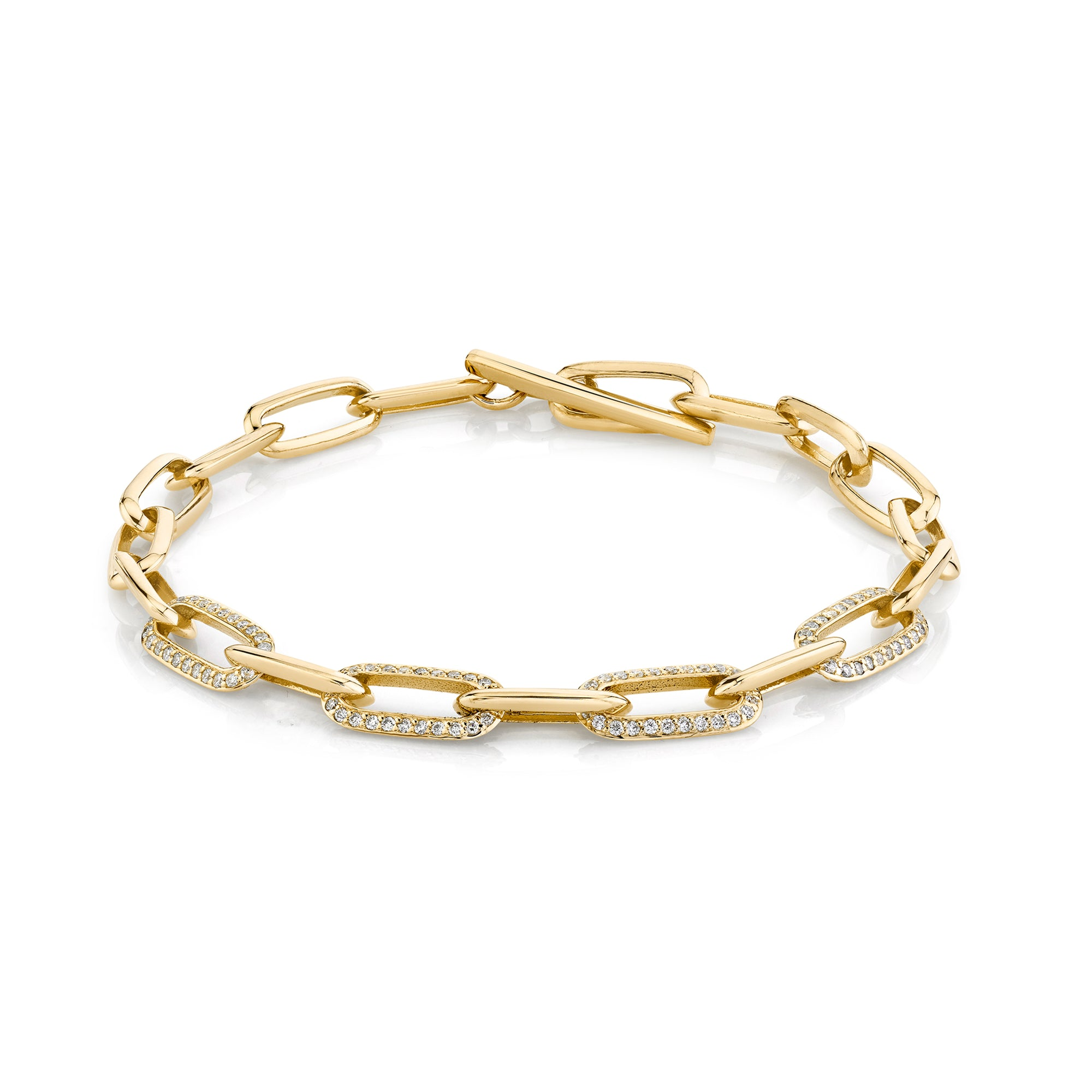 Knife Edge Oval Link Chain Bracelet with Four Alternating Half-Pave Links