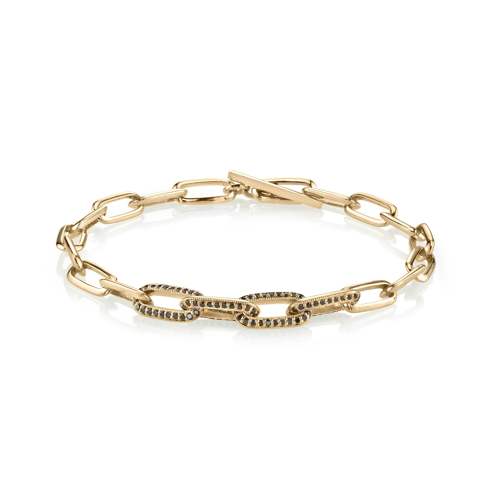 Knife Edge Oval Link Chain Bracelet with Four Half-Pave Links