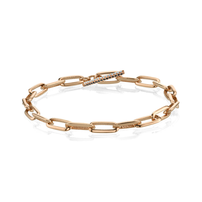 Knife Edge Oval Link Chain Bracelet with Othello Toggle