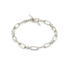 Knife Edge Oval Link Diamond Station Bracelet