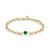 XS Knife Edge Oval Link Bracelet with Emerald Center