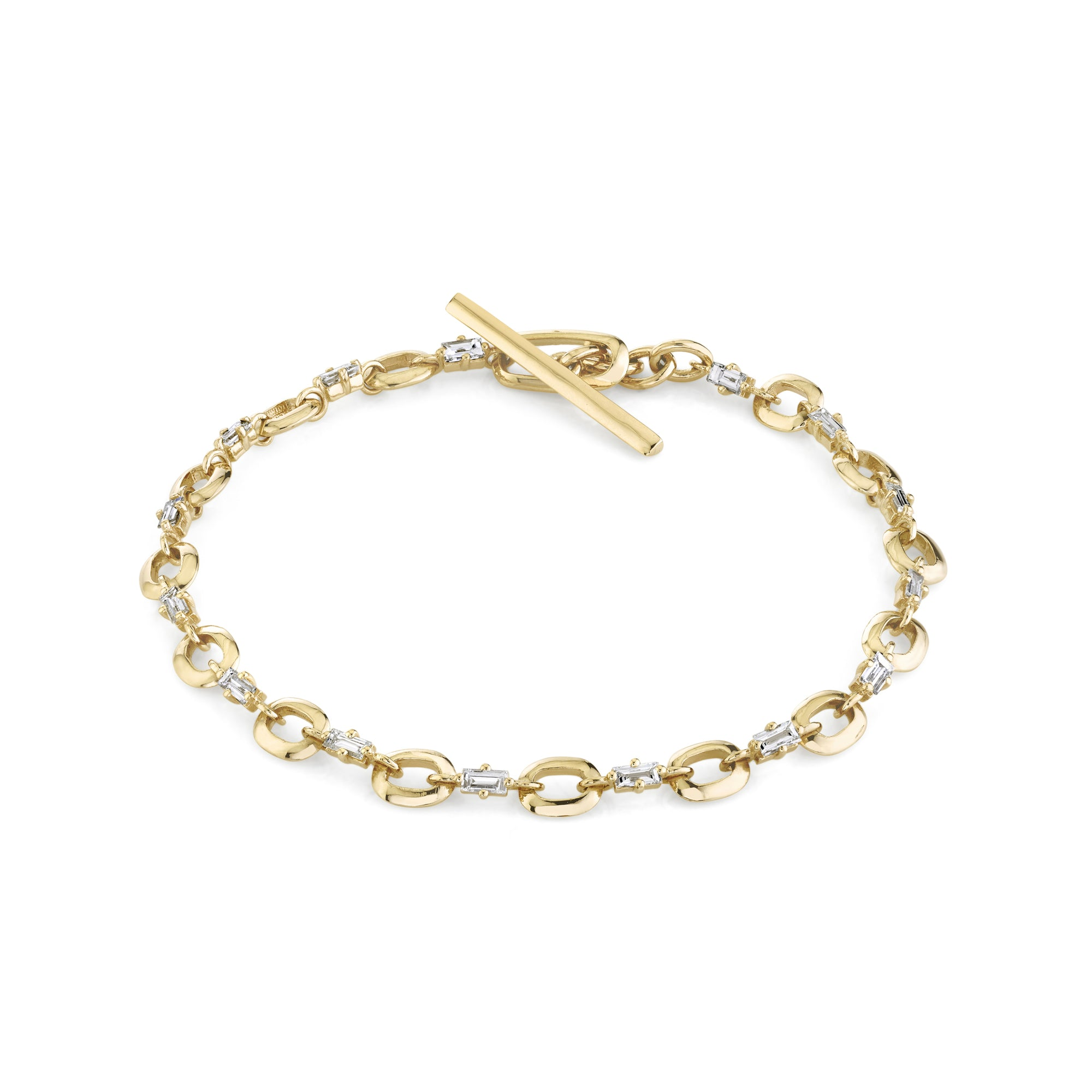 Alternating Diamond Baguette and XS Link Bracelet