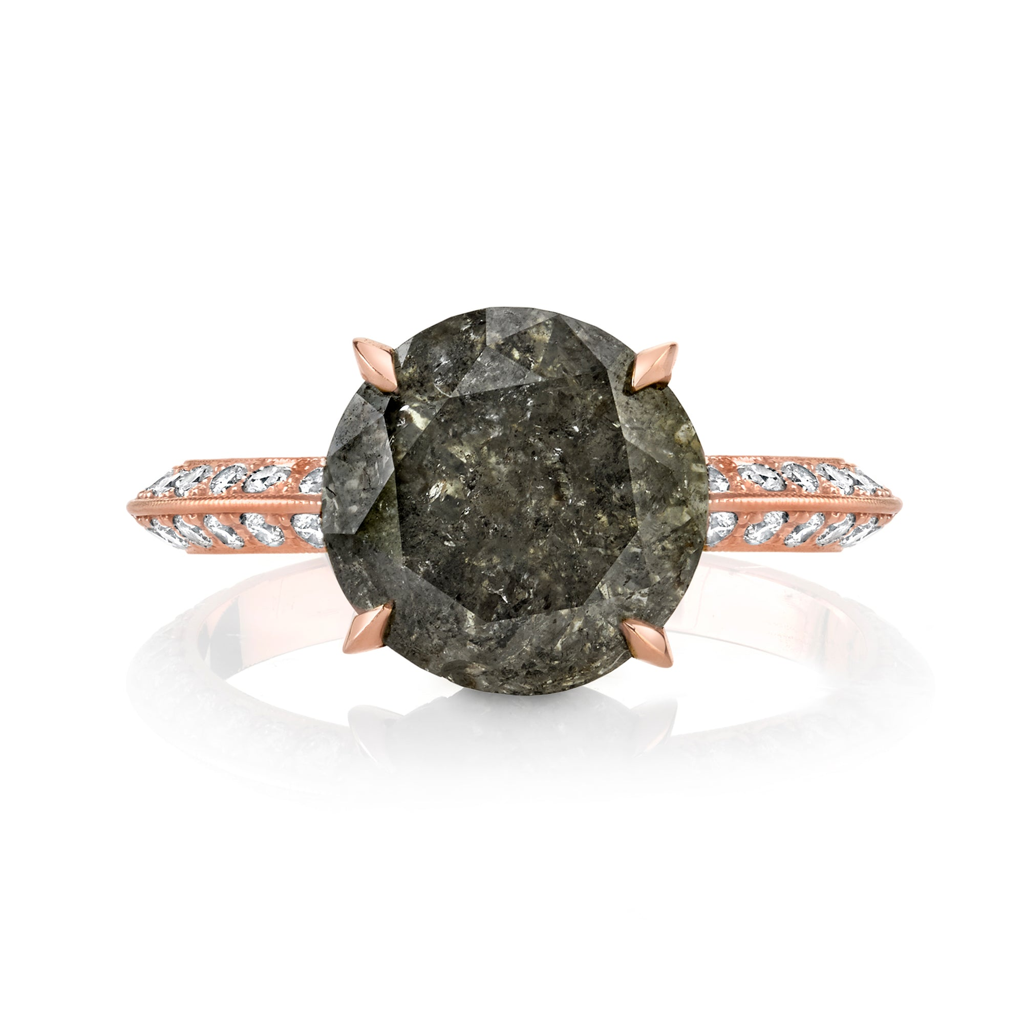 Custom 3 Carat Gray Diamond Solitaire Rose Gold Pave Knife Edge Ring