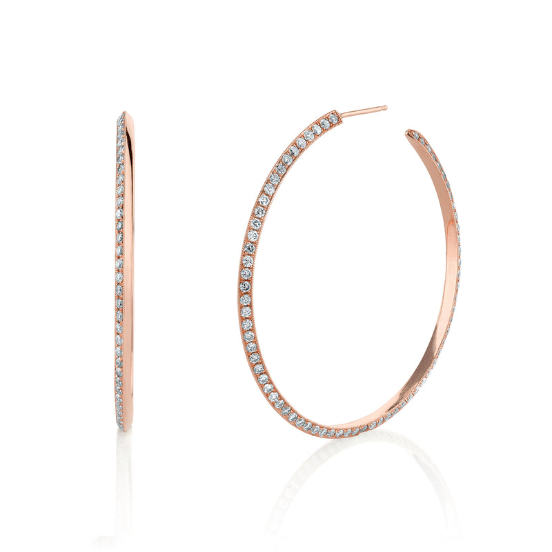 White Diamond Knife Edge Hoops