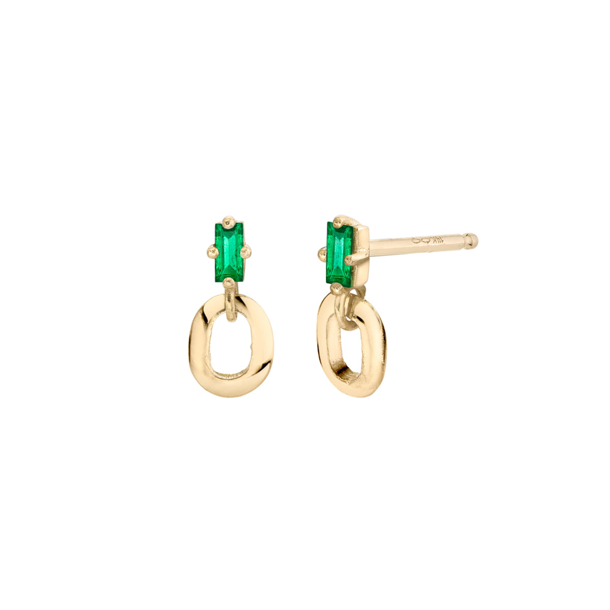 Emerald Baguette and XS Link Studs