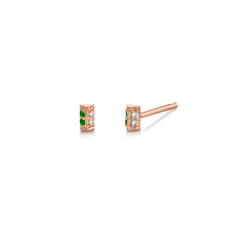 Emerald Pavé Mini Bar Studs