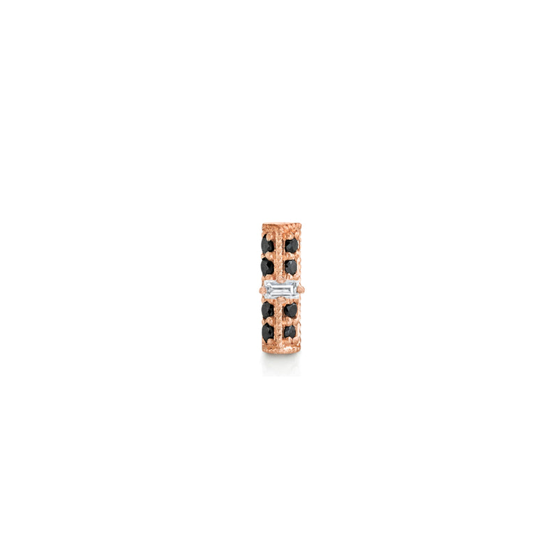 Pave Knife Edge Bar Stud with Baguette Diamond