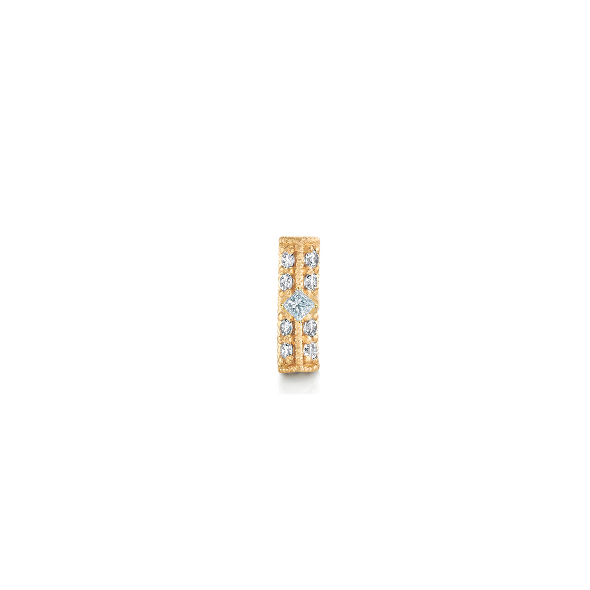 Pave Knife Edge Bar Stud with Princess Diamond