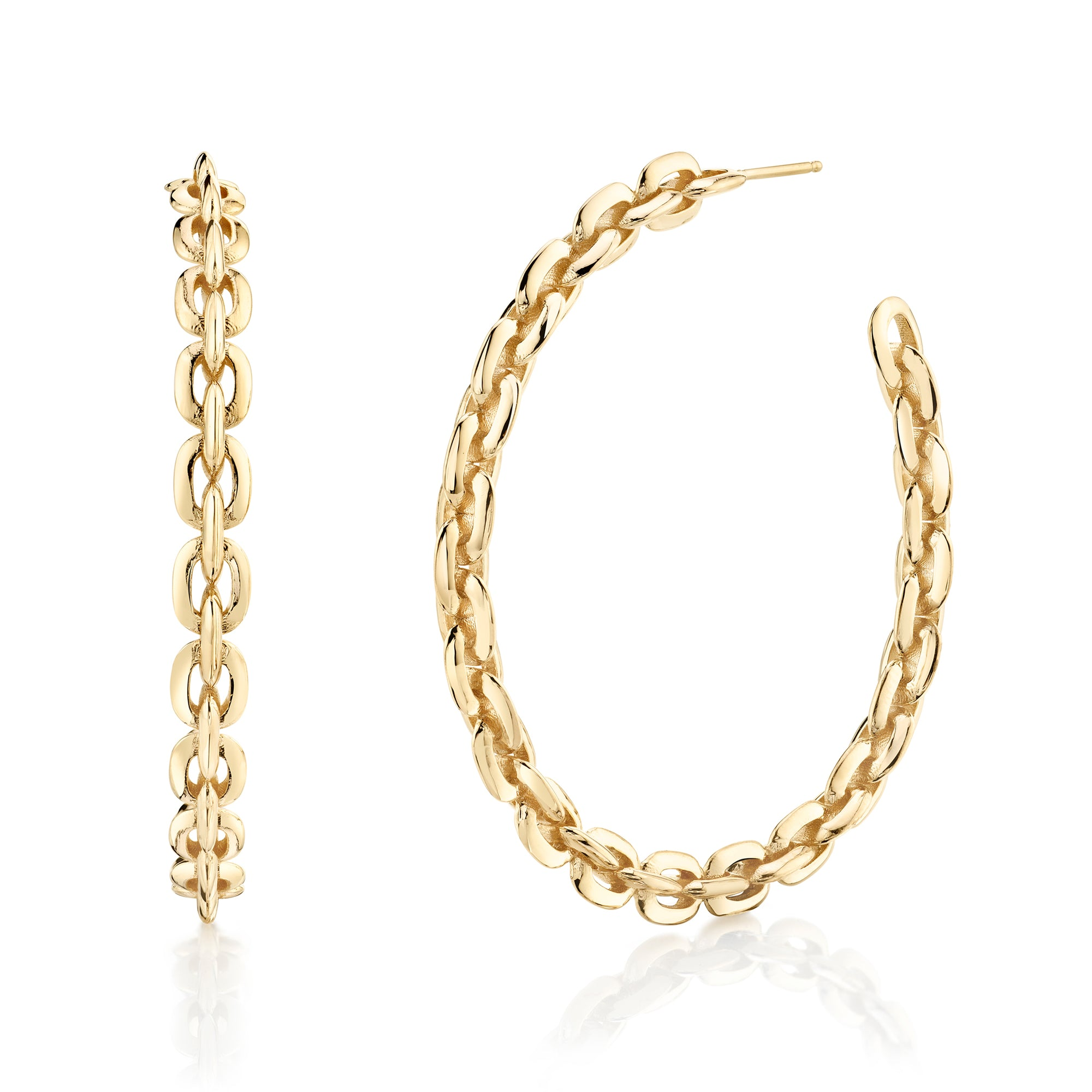 Large Knife Edge Chain Hoops