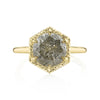 Round Gray Diamond in a Hexagon Setting with Yellow Gold band