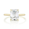 Emerald Cut Diamond Solitaire on Thin Yellow Gold Band