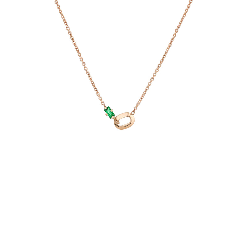 XS Link and Emerald Baguette Necklace