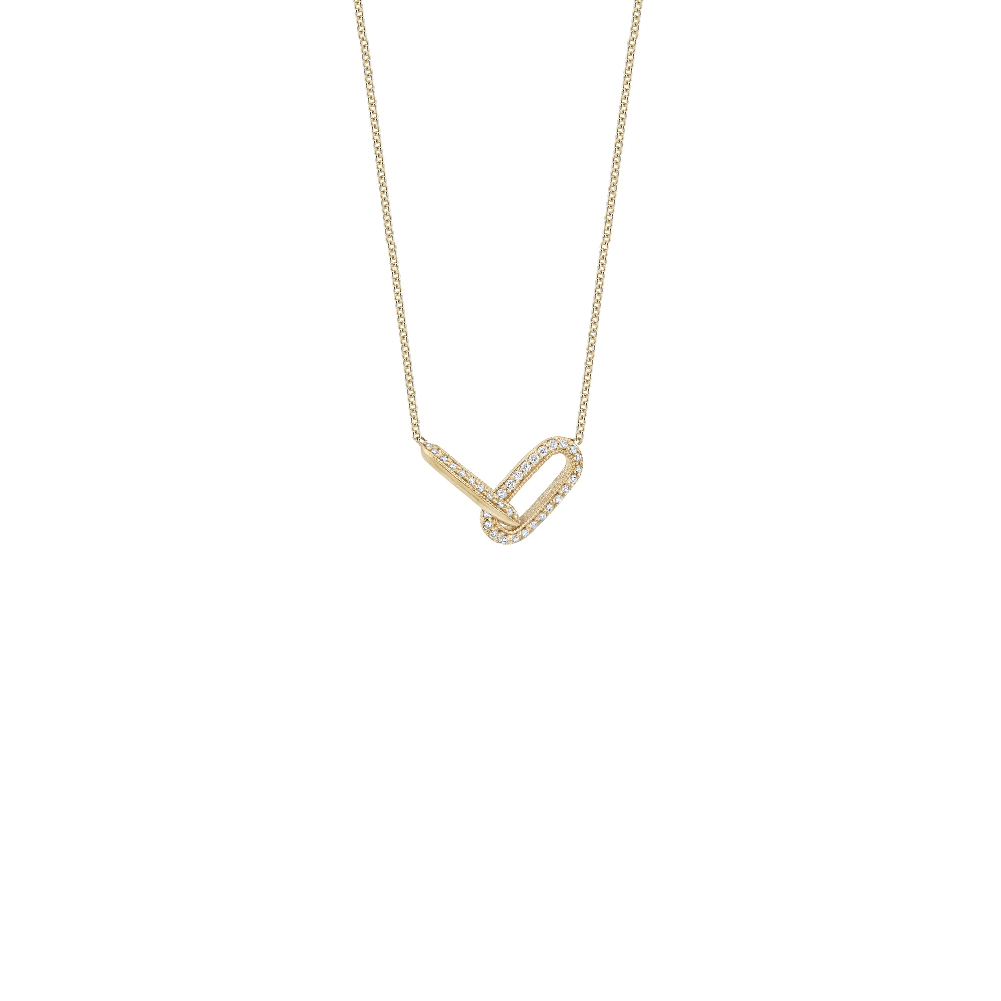 One Sided Pave Linked Necklace