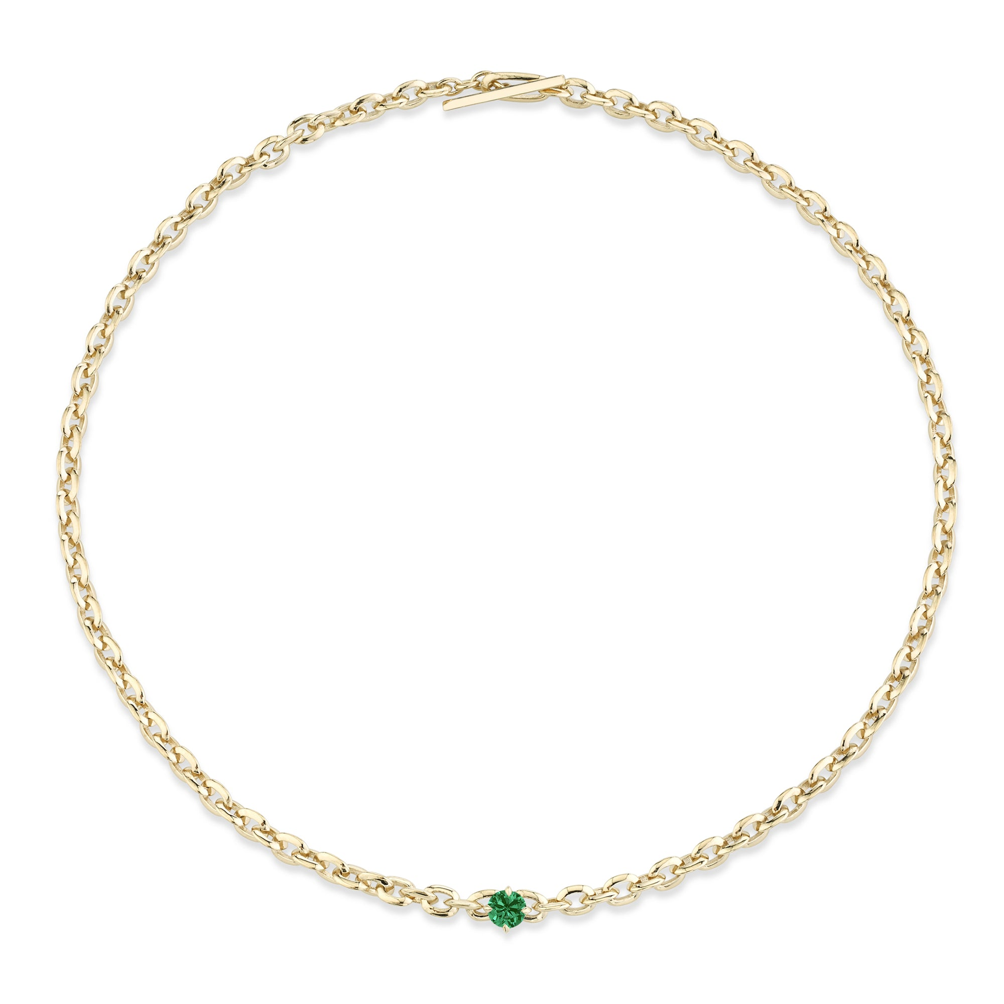 XS Knife Edge Oval Link Necklace with Emerald Center