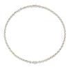 XS Knife Edge Oval Link Necklace with Diamond Center