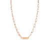 Graduated Knife Edge Oval Link Chain Nameplate Necklace