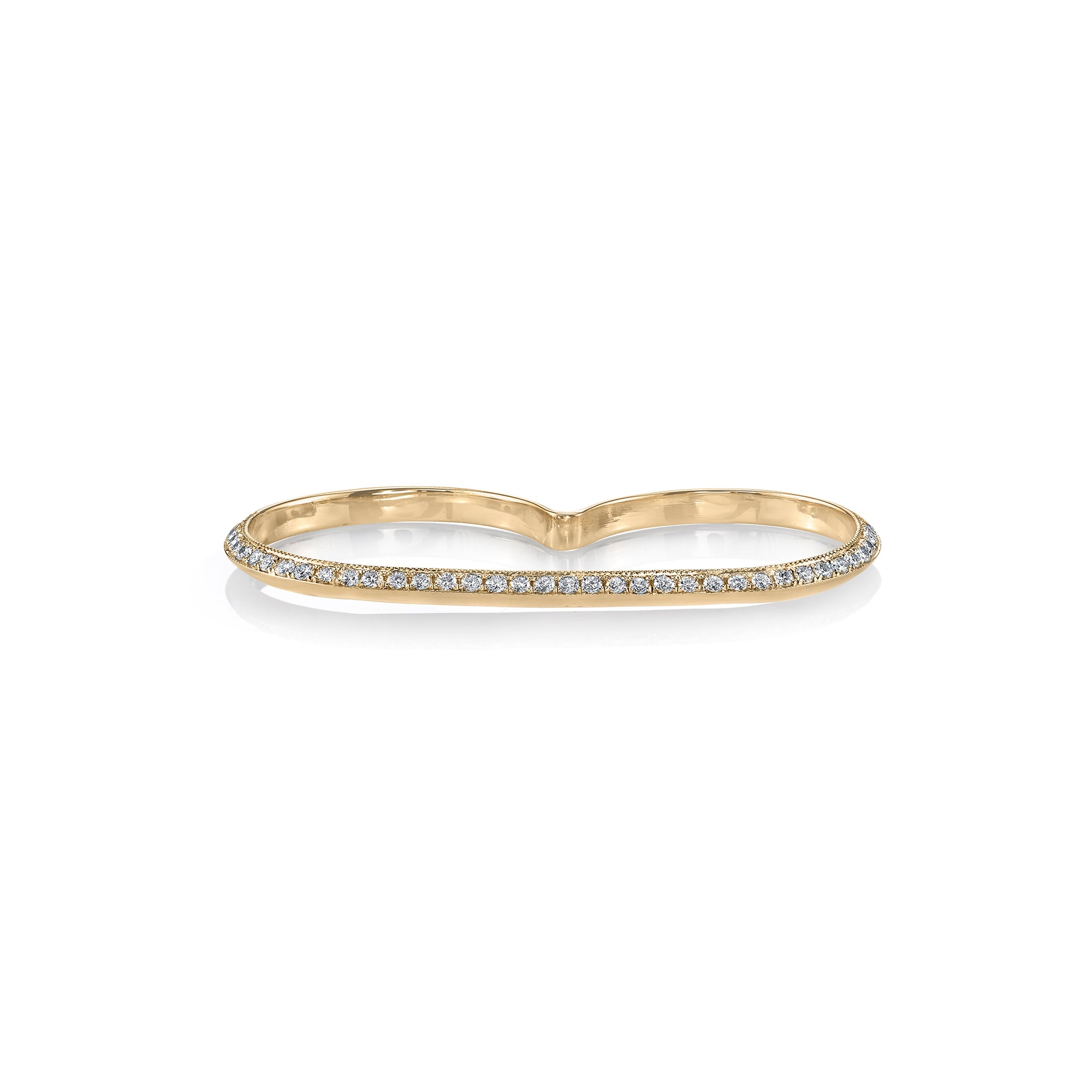 Pave Knife Edge Double Finger Ring