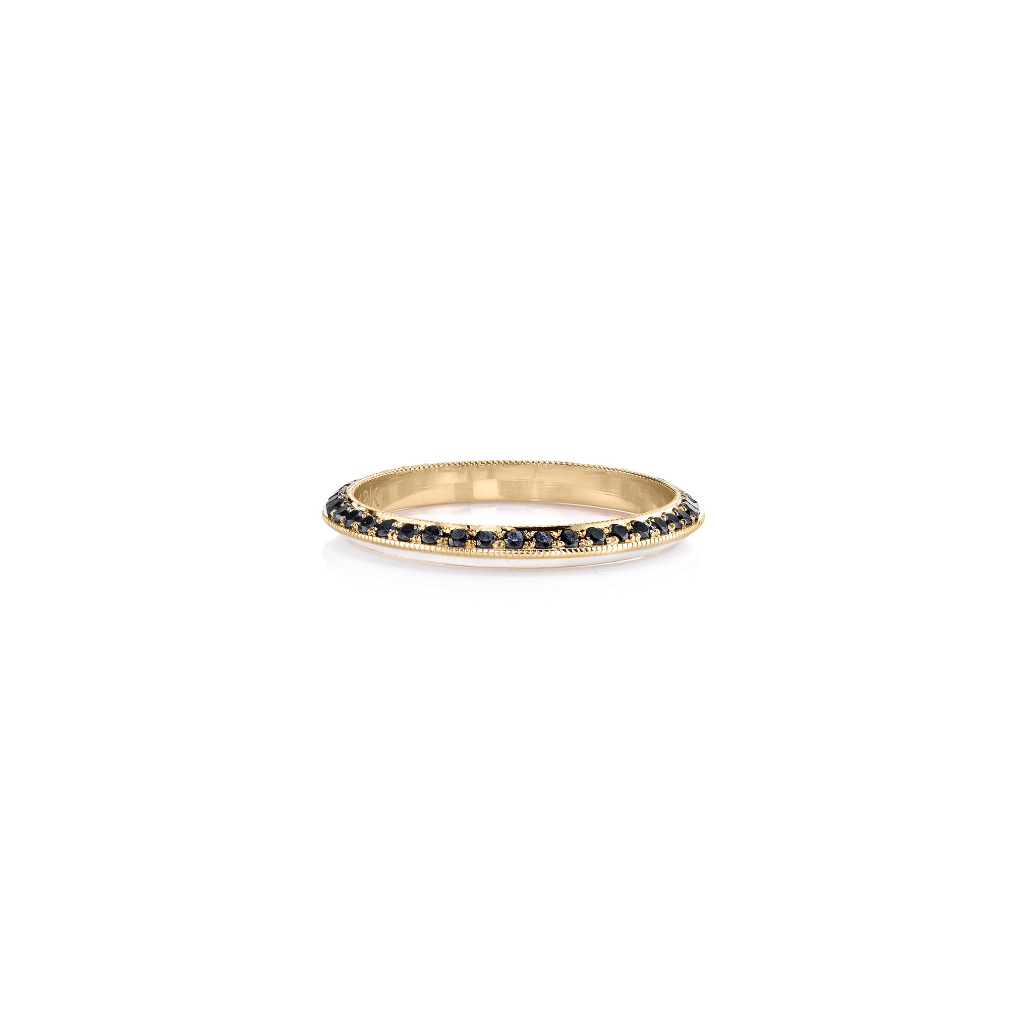 Black Diamond and White Enamel Stackable Ring