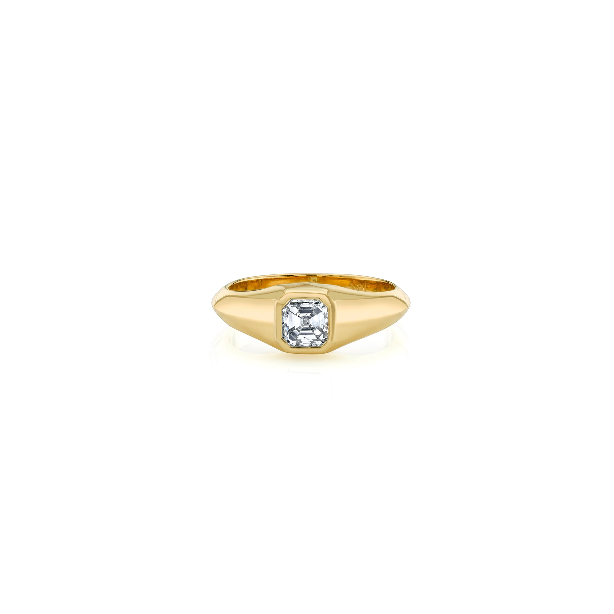 Asscher Signet Knife Edge Pinky Ring