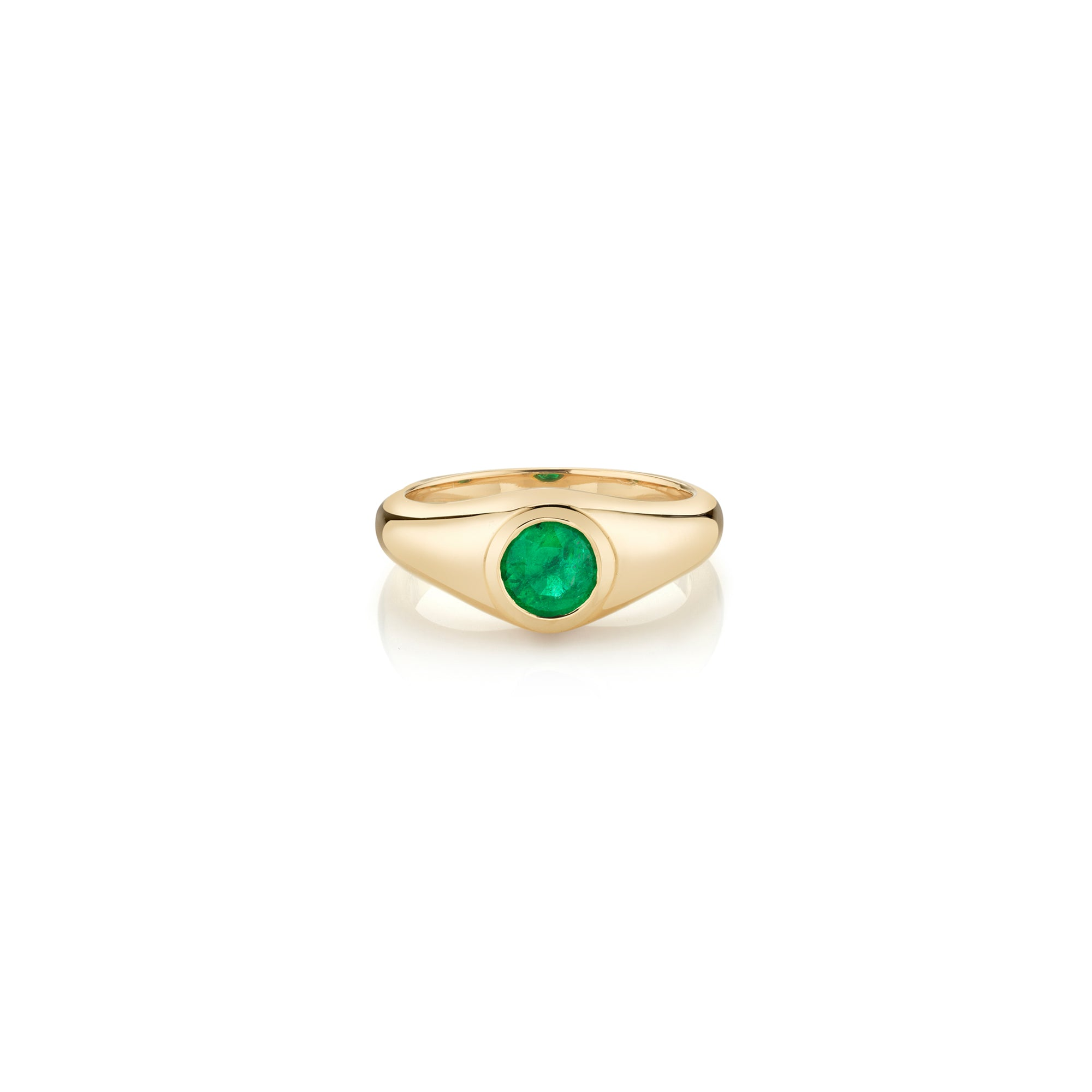 Round Emerald Signet Knife Edge Pinky Ring