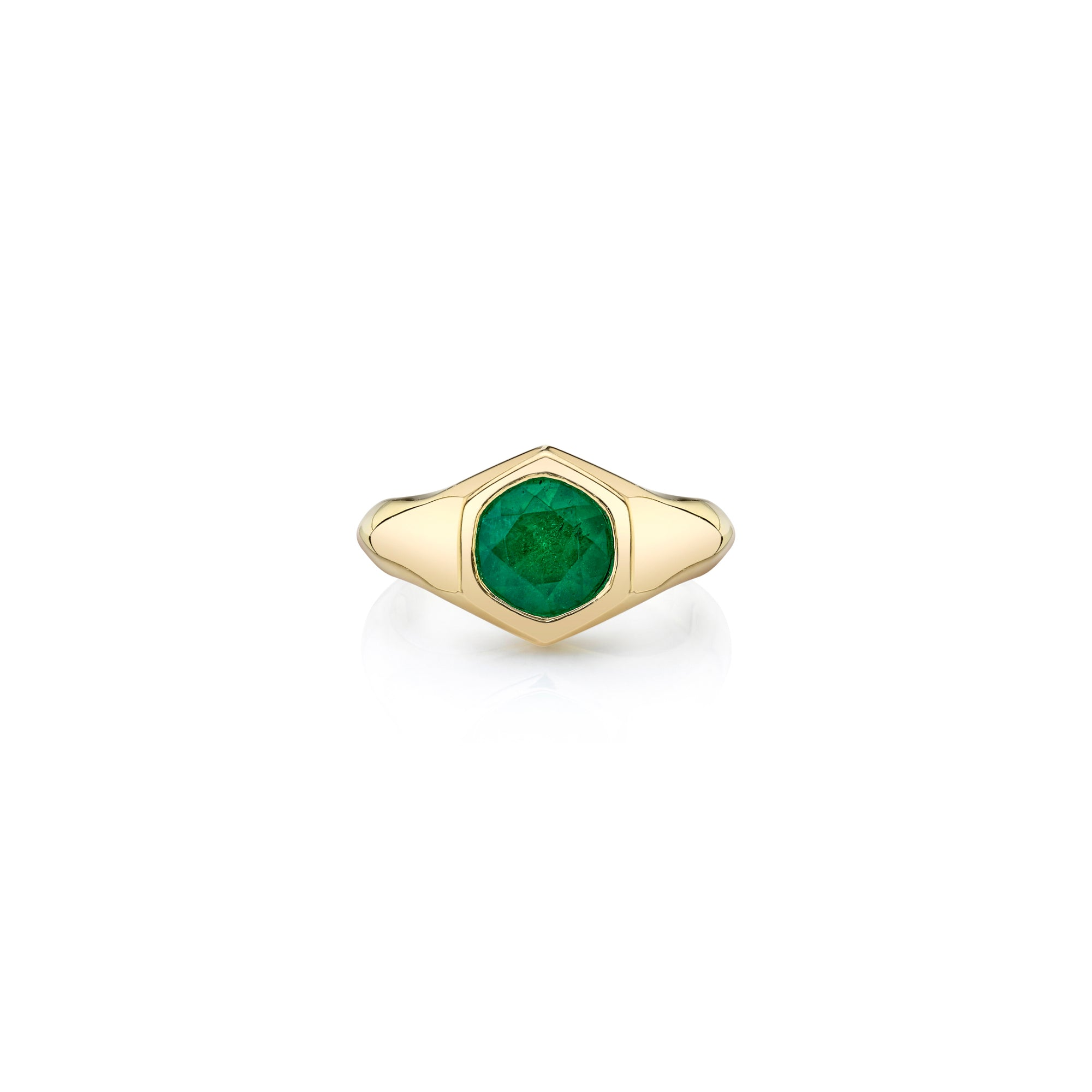 Large Round Emerald Knife Edge Signet Ring