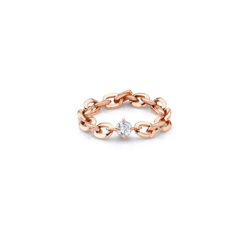 XS Knife Edge Oval Link Ring with Petite Diamond Center