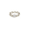 XS Knife Edge Oval Link Ring with Diamond Center