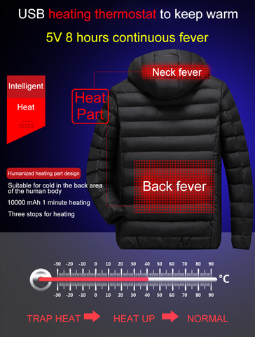 Outdoor Sports Hiking USB Heating Vests 9 Heating Pads 3 Gears Temperature Electric Thermal Clothing Waistcoat